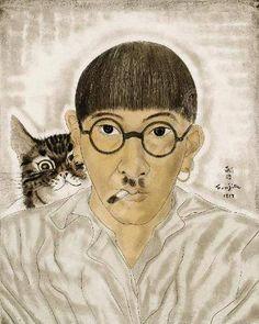 Léonard Tsuguharu FOUJITA, Autoportrait au chat, 1928