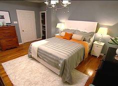 bedrooms - Benjamin Moore - Puritan Grey - grey blue walls bedding orange throw rug colour confidential - white tufted headboard, orange throw