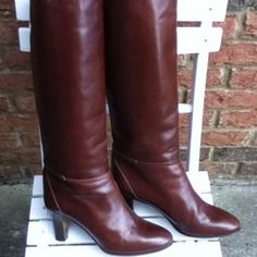Salamander France Boots - Brown leather vintage tall boots made in Italy