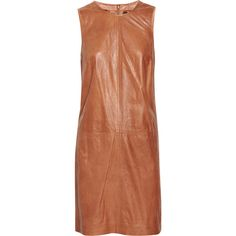 Adam Pleat-back leather shift dress ❤ liked on Polyvore featuring dresses, adam, leather dress, brown shift dress, brown dress and adam dress