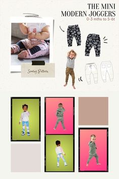 Mini Modern Joggers sewing pattern (0-3mths to 5-6T). Here are some stylish yet comfortable Mini Modern Joggers. The Mini Modern Joggers sewing pattern has an added knee patch for crawling protection, which makes these trendy joggers look extra cute. This is a kids pattern that is suitable for a confident beginner sewer. Boys Sewing Patterns, Kids Patterns, Sewing For Kids, Kids Pants, Modern Kids, Pants Pattern, Toddler Outfits, Confident, Joggers