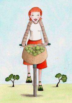 Il·lustració de Lorrie McFaul    Fa un diumenge preprimaveral genial per agafar la bicicleta i donar un  passeig relaxat, per la ciuta...