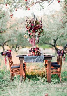 Gorgeously Gothic Tall Wedding Centrepiece