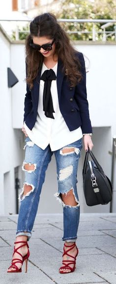 Chic Navy Blazer with Love Denim and Strap Heels casual street RORESS closet ideas women fashion outfit clothing style 30 Outfits, Heels Outfits, Mode Outfits, Fall Outfits, Casual Outfits, Fashion Outfits, Fashion Heels, Best Outfits 2017, Jeans Fashion