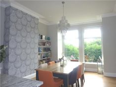 Lotus feature wall. Cornforth White on walls, Strong White on ceilings, All White on woodwork. Railings on table legs.