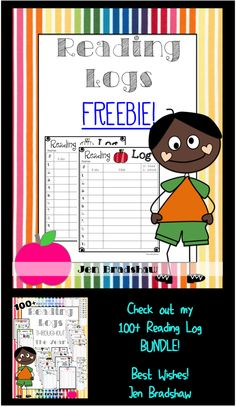 FREEBIE!  Reading Logs in apple theme.  ALSO, Check out my 100 + bundle of reading logs for the whole year.   #reading #log