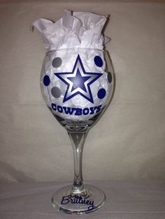 Dallas Cowboys Football Wine Glass on Etsy, $18.00