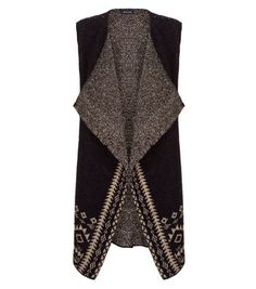 New Look Black Aztec Border Waistcoat Brown Vest, Vest Pattern, Knit Vest, Classy And Fabulous, New Look, Latest Trends, Winter Fashion, Aztec, Clothes For Women
