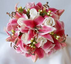 Asiatic Lily Wedding Bouquet pink and orange | tandlesachin21.onsugar...pink wedding bouquets