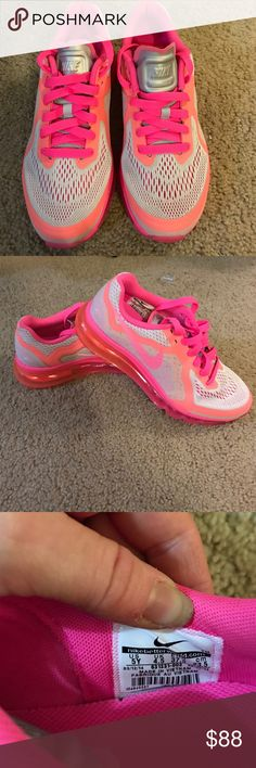 Nike Air Max Brand new , never worn Nike Air Max they are hot pink , orange and have a light silver mesh . Swoosh is hot pink and tongue is grey. They are a youth 5, which fits a women's 7. Brand new 100% authentic and never worn Nike Shoes Athletic Shoes