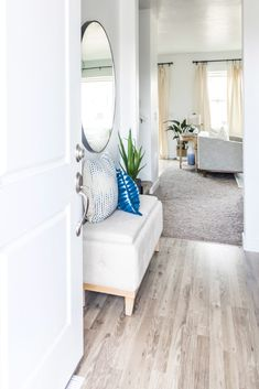 Modern Farmhouse Home Tour! Light and airy whites and neutrals with pops of blue. Product links included on blog post too!