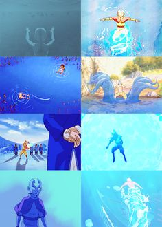 Aang waterbending + Blue