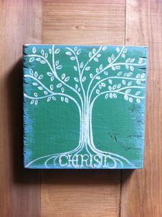"""Christian Art - Rooted in Christ - 5 1/2x 5 1/2"""" Wood - Scripture Art - Bible Verse Art - Tree. $23.00, via Etsy."""