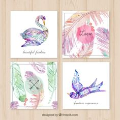 Hand painted feather cards Free Vector