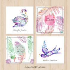 Tarjetas con plumas hechas a mano