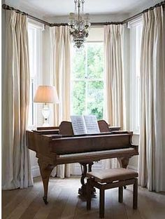 Idea for curtains in master bedroom for bay window.   bay window curtains - elegant, peaceful colors