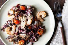 Roasted Radicchio and Shrimp with Warm Bacon Vinaigrette