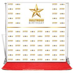 Hollywood Red Carpet Theme Birthday Party. DIY red carpet entrance or red carpet photo booth. All inclusive kit: red carpet runner, carpet installation tape, telescopic banner stand, banner stand carrying case, vinyl step & repeat banner, free domestic USA shipping!