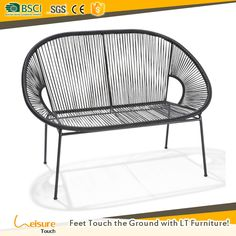Hot sell white color rattan leisure patio furniture double seat garden Acapulco chair