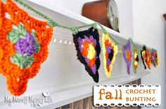 Fall Crochet Mantel Bunting – Granny Stitch, lovely! In pastels for easter... hmmm, can't wait! xox Pattern here: http://crochetagain.wordpress.com/2012/06/19/granny-bunting/