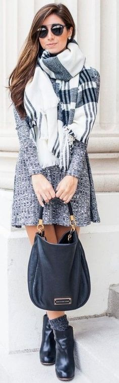 #fall #outfits / gray knit dress + scarf
