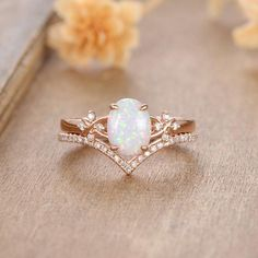 Dream Engagement Rings, Rose Gold Engagement Ring, Engagement Ring Settings, Opal Rings, Moonstone Ring, Pretty Rings, Conflict Free Diamonds, Bridal Sets, Antique Rings