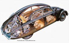 Tatra T 77 / 1934 - Schnittzeichnung Cutaway, Traction Avant, Bmw E34, Mini Trucks, Unique Cars, Car Makes, Car Drawings, Old Cars, Cars
