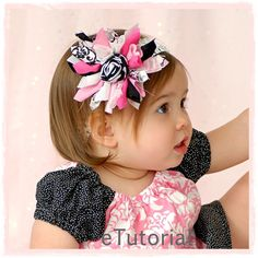 Items similar to Hot Pink and Black Scrappy Rolled Rose Hair Bow Ever After Collection Toddler Infant Girls on Etsy Headband Hairstyles, Diy Hairstyles, Pretty Hairstyles, Diy Hair Bows, Diy Bow, Ribbon Hair, Hair Bow Tutorial, Gift Bows, Boutique Hair Bows