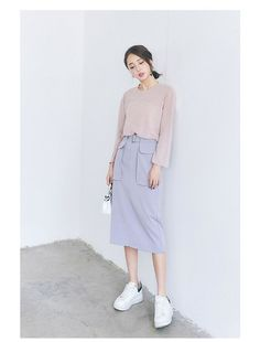 Korean fashion solid color Slim pencil skirt AddOneClothing.com Size Chart