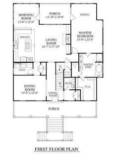 House Plan 3247-A Edisto First Floor - Elevated design for coastal areas. Large, open living space and formal Dining Room. Large Master Suite downstairs. Media Room upstair along with three bedrooms and two baths. Two-story Foyer, front and rear porches, and drive-under parking.