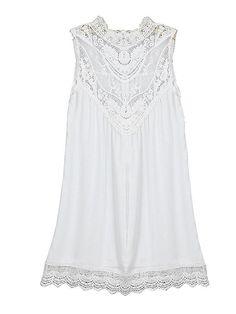 Sexy Chiffion Lace Insert Round Neck Sleeveless Mini Dress For Women