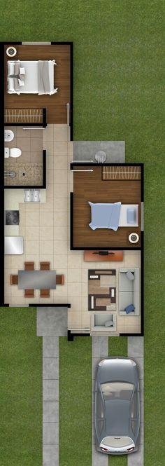 House Plans Simple Cottages Ideas For 2019 Guest House Plans, 2 Bedroom House Plans, Dream House Plans, Small House Plans, House Floor Plans, Modern Small House Design, House Construction Plan, Small Apartment Design, Southern House Plans