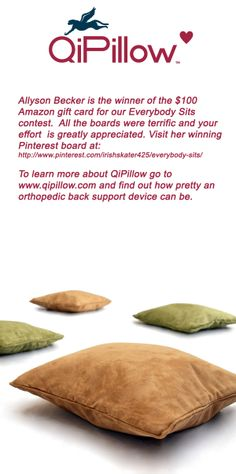 Thank you and congratulations to Allyson Becker for her winning board Everybody Sits for QiPillow.  #qipillow #backrelief