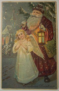 Vintage Christmas Postcard      Santa and Angel by riptheskull, via Flickr