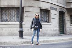 Trini | Gap jeans - G.H Bass brogues - Gap sweatshirt - The Kooples leather jacket - Reed Krakoff bag