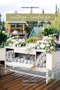How to use a vintage credenza in your wedding designs. Rent vintage credenza to hold your guests warming blankets for a spring + fall event. Event planned by Lynn Fletcher Weddings in Calgary, Alberta. Image by Corrina Walker Photography. Wedding Desserts, Wedding Decorations, Table Decorations, White Credenza, Wedding Vendors, Weddings, Welcome Table, Cozy Blankets, Alberta Canada