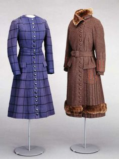 """Right: Coat for winter sports, by Blancquaert, London, 1920-25, at the National Museum of Art, Architecture and Design. In their book """"Style & Splendor: The Wardrobe of Queen Maud of Norway 1896-1938,"""" authors Kjellberg and North write that Queen Maud wore this thick wool, fur-trimmed coat for skiing and toboganning. She probably wore a jumper and a skirt with knee-length breeches under the coat (pg. 68)."""