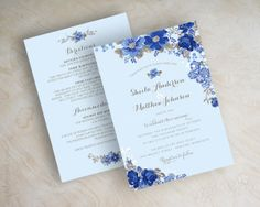 Blue floral wedding invitation, antique flowers, botanical wedding invitations, garden wedding invites, cornflower, royal, sapphire, Taylor