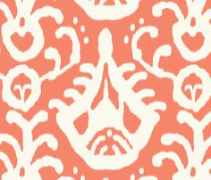 coral ikat fabric by domesticate for sale on Spoonflower - custom fabric, wallpaper and wall decals for our purposes get the grey Ikat Fabric, Drapery Fabric, Coral Fabric, Tablecloth Fabric, Orange Fabric, Fabric Patterns, Print Patterns, Wild Blueberries, Custom Wallpaper