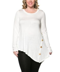 Another great find on #zulily! Ivory Button Sidetail Tunic - Plus by Celeste #zulilyfinds