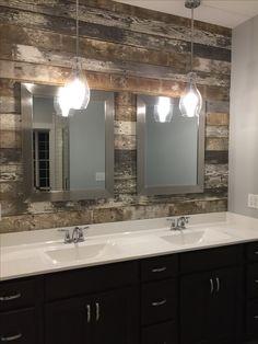 Bathroom pendant lighting Vintage Barn Wood Accent Wall And Pendant Lights Master Pinterest 23 Best Bathroom Pendant Lighting Images Bathroom Pendant Lighting