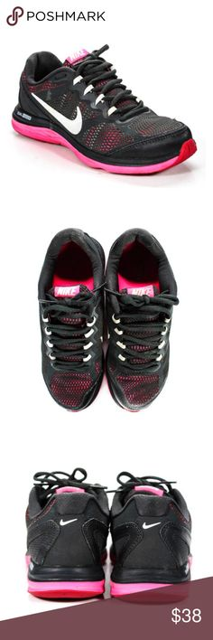 Nike Dual Fusion Hot Pink Black Mesh Sneakers Shoe NO OFFERS. PRICE IS FIRM AND NON-NEGOTIABLE. NO TRADES OR HOLDS. Gorgeous Nike Dual Fusion sneakers in black/hot pink, size 7. Mesh details. All photos are of the actual item you will be receiving; zoom in for details. No significant flaws to note. Super comfortable. Nike Shoes Athletic Shoes