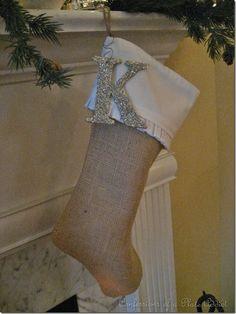 Love the glitter letter instead of glitter name on stocking.