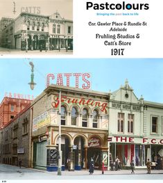 """Catt Stores - Haberdashery and departmental store and Fruhling Photographic Studio: South Western corner of Gawler Place and Rundle Street: Adelaide, Australia 1917 :SLSA """"Bringing the Past Back to Life"""" enquire via the link below Lily Pond, Houses Of Parliament, National Portrait Gallery, Dream City, Photographic Studio, Old Buildings, Military History, Cool Places To Visit, The Past"""