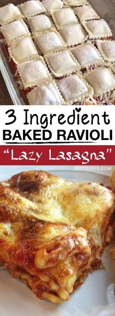 Easy Ravioli Bake LAZY LASAGNA Ingredient Ravioli Bake) -- This quick, easy and cheap dinner recipe is perfect for the family! It's just 3 ingredients, and an excellent main dish idea for any busy mom or dad. Kids love it, and it's awesome left over too Think Food, Love Food, Tasty Meal, Food Dishes, Main Dishes, Pasta Dishes, Lazy Lasagna, Cooking Recipes, Lasagna Recipes