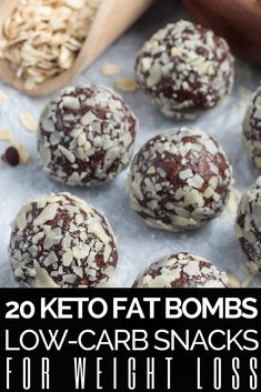 Keto Diet Fat Bombs Fat bombs are a perfect energy boosting ketogenic diet treats! Low carb snacking is a must for weight loss on the keto diet! These 20 low carb snack recipes make it easy! Using ingredients like cream cheeses, peanut butter, chocolate, coconut oil, cookie dough, honey, lemon, stevia and almond butter weight loss tastes fantastic! Dairy and sugar-free recipes are full of flavor! #ketosnacks #keto #ketorecipes #ketogenic