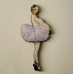 Beautiful Pale Lilac Ballerina Wooden Brooch by TheRowanTreeOnline