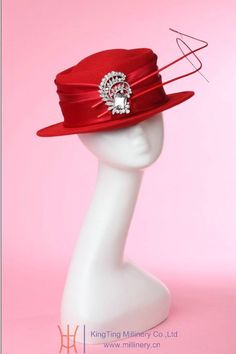 Elegant Wool Felt Handmade Hat w/Embellishments & Jewel Accent Black or Red