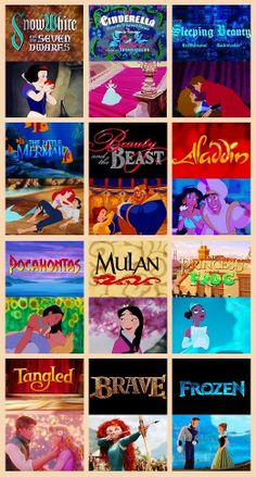 Disney Princesses (Frozen and the Beauty and the Beast are the best princess movies)<----umm, I like Mulan, Brave, and Pocahontas All Disney Princesses, Disney Princess Movies, Disney Movies, Disney Stuff, Disney Characters, Cute Disney, Disney Girls, Disney Couples, Disney And Dreamworks