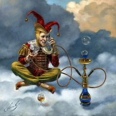 """Michael Cheval Local Call 12"""" x 12"""", oil on canvas, 2010"""